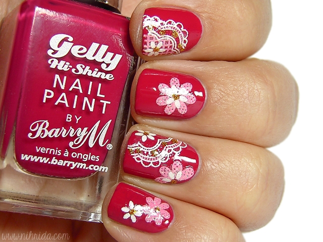 Barry M Gelly Nail Paint in Pomegranate + Born Pretty Store Nail Stickers