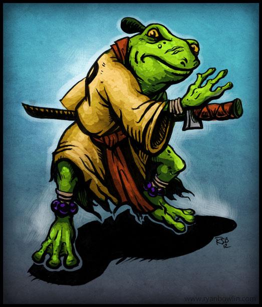 the art of ryan bowlin  samurai frog