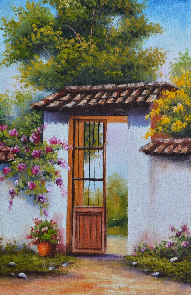 Cuadros modernos pinturas y dibujos pinturas de paisajes - Casas viejas al oleo ...