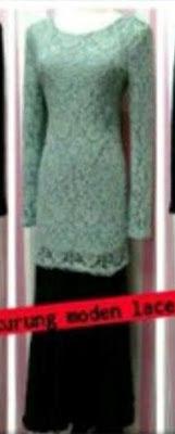 Baju Kurung Lace Turquoise, Skirt Hitam