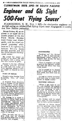 Engineer and GIs Sight 500-Foot 'Flying Saucer - Washington Daily News, The 11-5-1957
