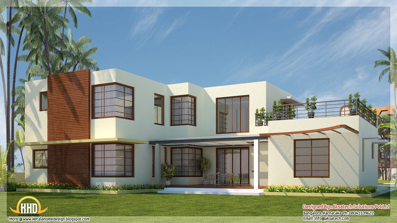 Beautiful contemporary home designs kerala home design for Contemporary home blueprints