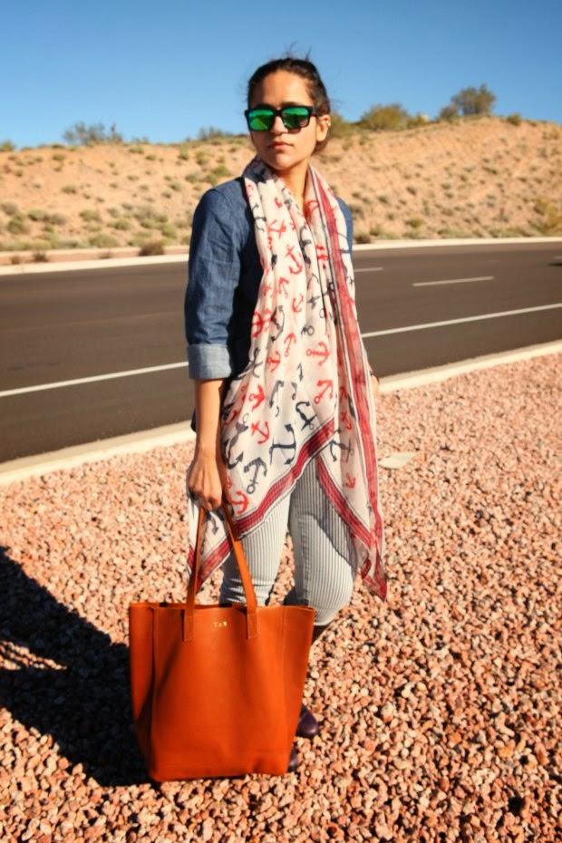 Dark Chambray GAP Shirt, Striped Jeans Lucky Brand, Ecco Boots, Tanvii.com