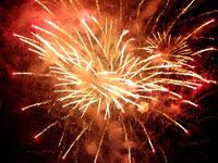 赤い打ち上げ花火 | 花火のイラストや写真のフリー素材色々。無料で商用可