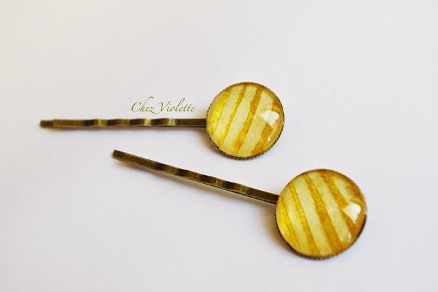 Barrettes dorées - https://www.etsy.com/shop/chezviolette