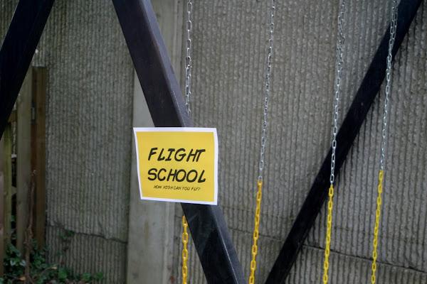 superhero party games activities flight school swings