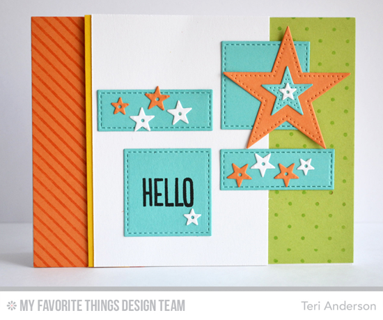 Jaunty Hello Card from Teri Anderson featuring the Stitched Rectangle and Pierced Star STAX Die-namics