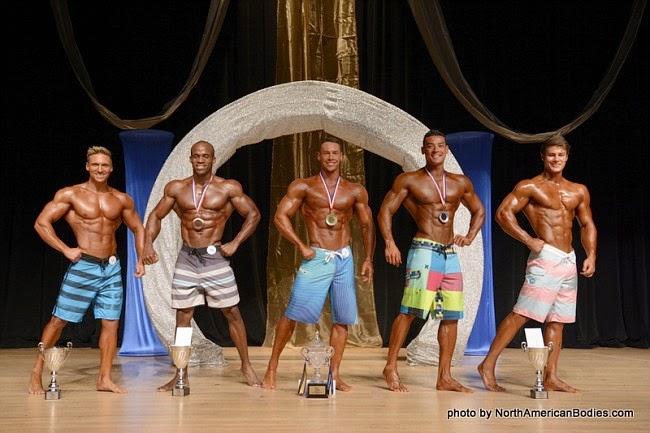 Top 5: Sheridan Hause, Rueben Gordon, Anton Antipov, Felipe Franco e Jeff Seid. Foto: North American Bodies