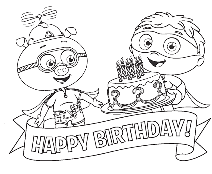 Drawing of Super Why Birthday ~ Child Coloring