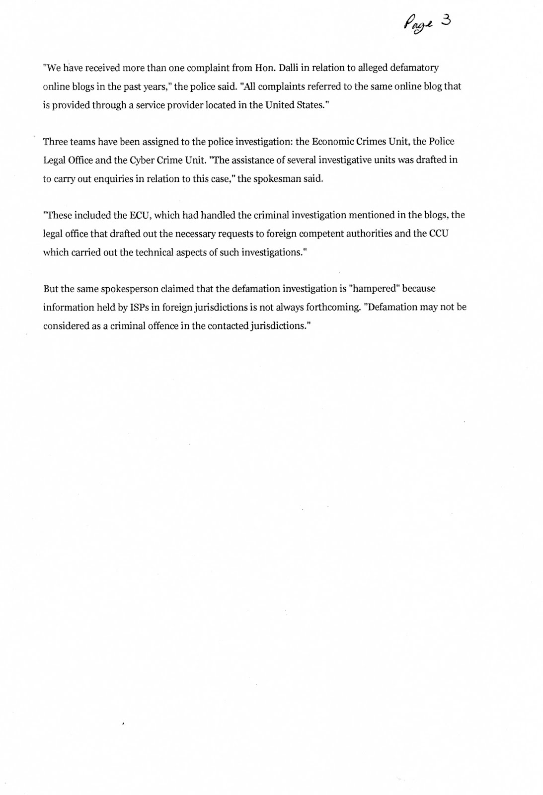 P3 - John Dalli Reports Blogs To Police