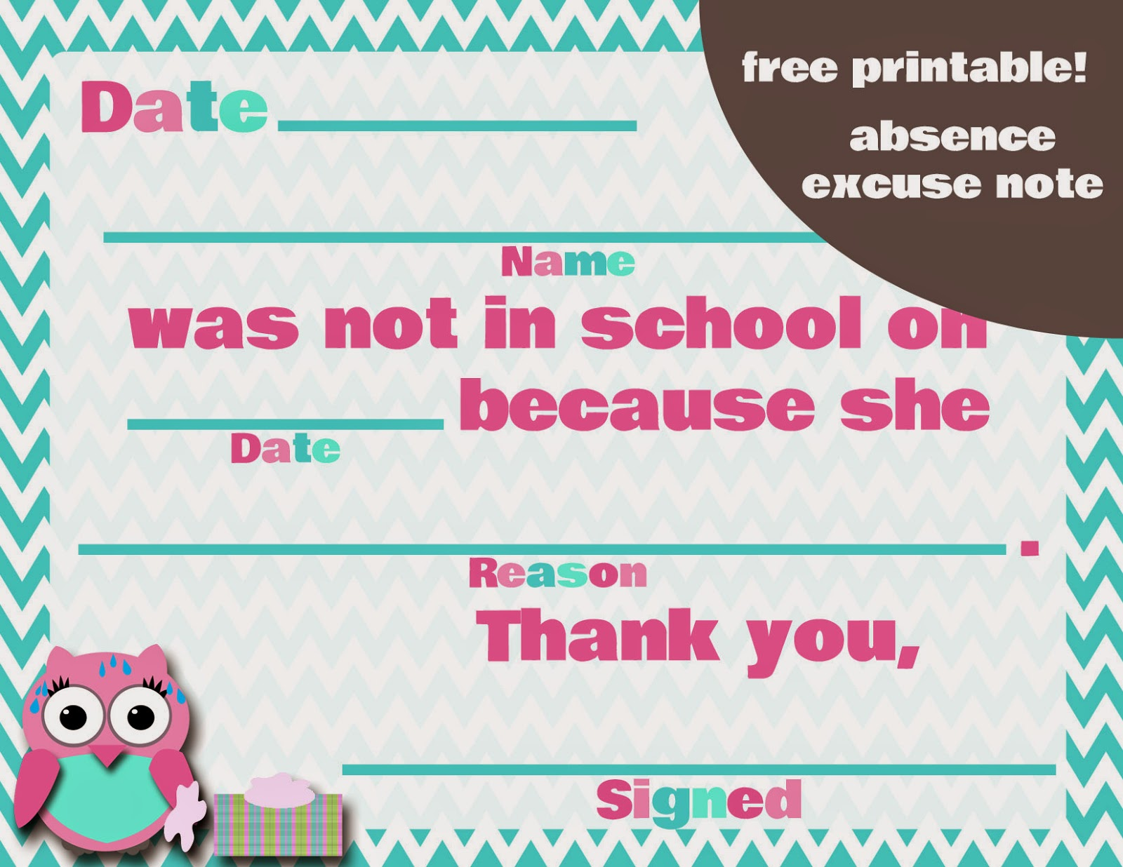 My fashionable designs free printable absence excuse for Absent notes for school templates