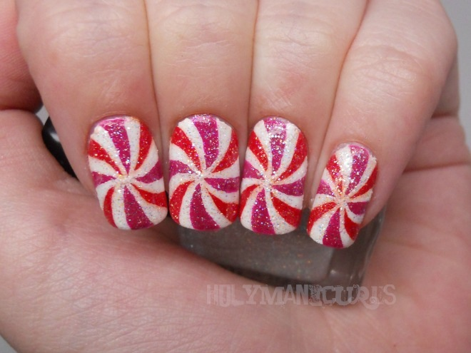 Holy Manicures Peppermint Swirl Nails