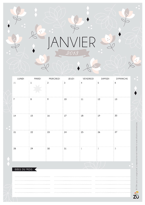 CALENDRIER2012 ZU DECEMBRE Happy New Year | Free 2013 Printable Calendars