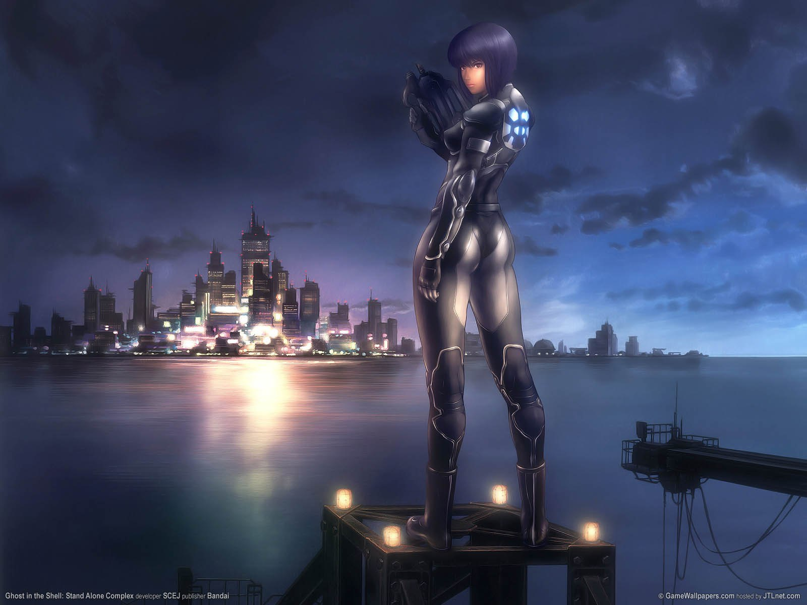 Major Kusanagi looking out over the city in Ghost in the Shell 1995 animatedfilmreviews.blogspot.com