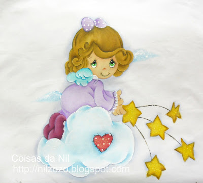 """"""" anjinha preciosos momentos pintada em lencol de berço"""""""