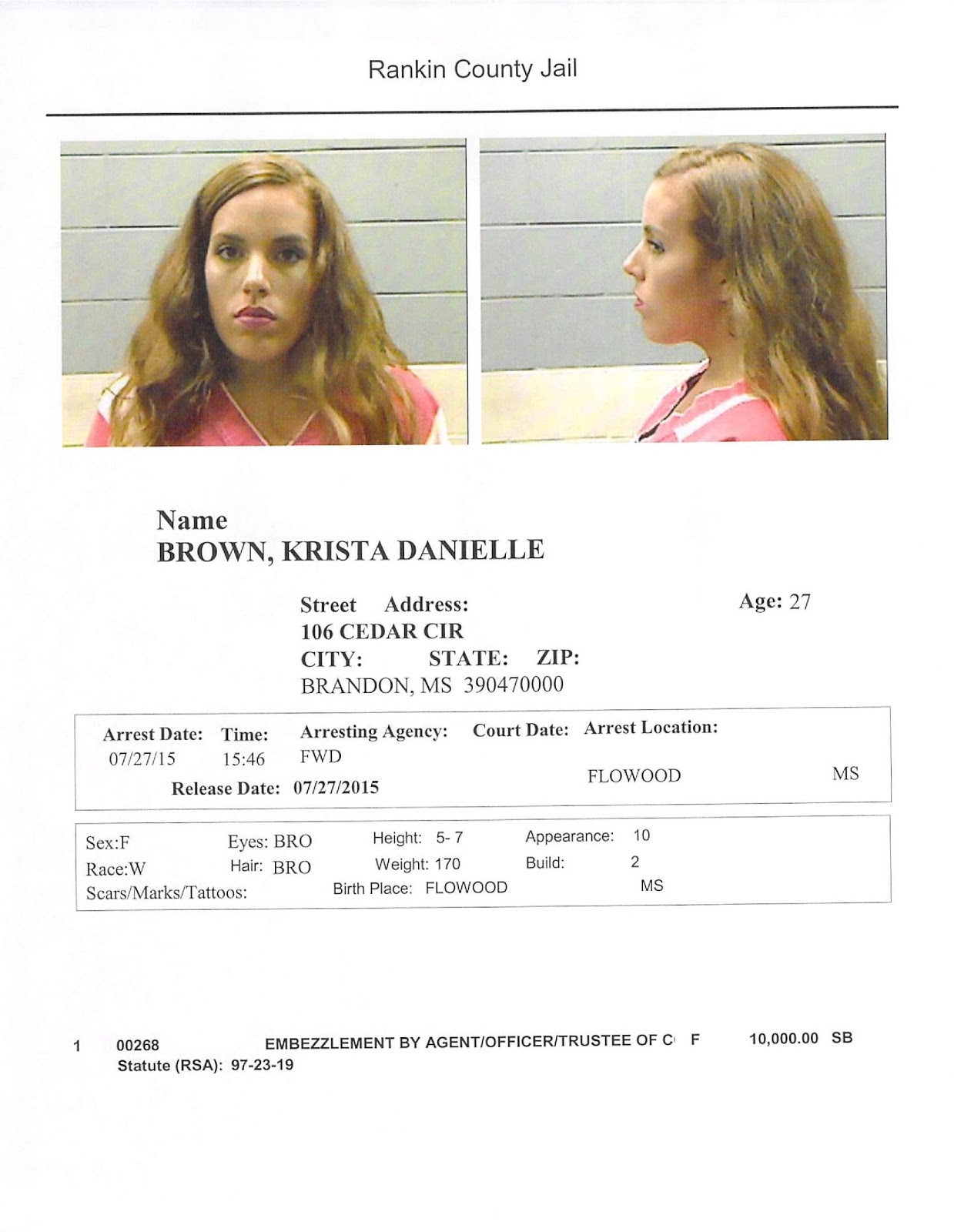 Mississippi rankin county star - Jackson Jambalaya Former Material Girls Manager Arrested In Flowood For Embezzlement
