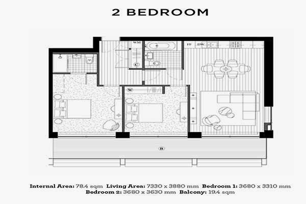Royal Wharf London 2 Bedrooms Floor Plan