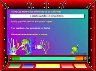 http://www.ceiploreto.es/sugerencias/juntadeandalucia/fondolector/lecturas3/refranes.swf