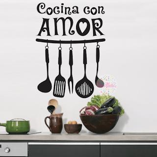 Vinilo Decorativo Utensilios Cocina Amor Cdm Vinilos
