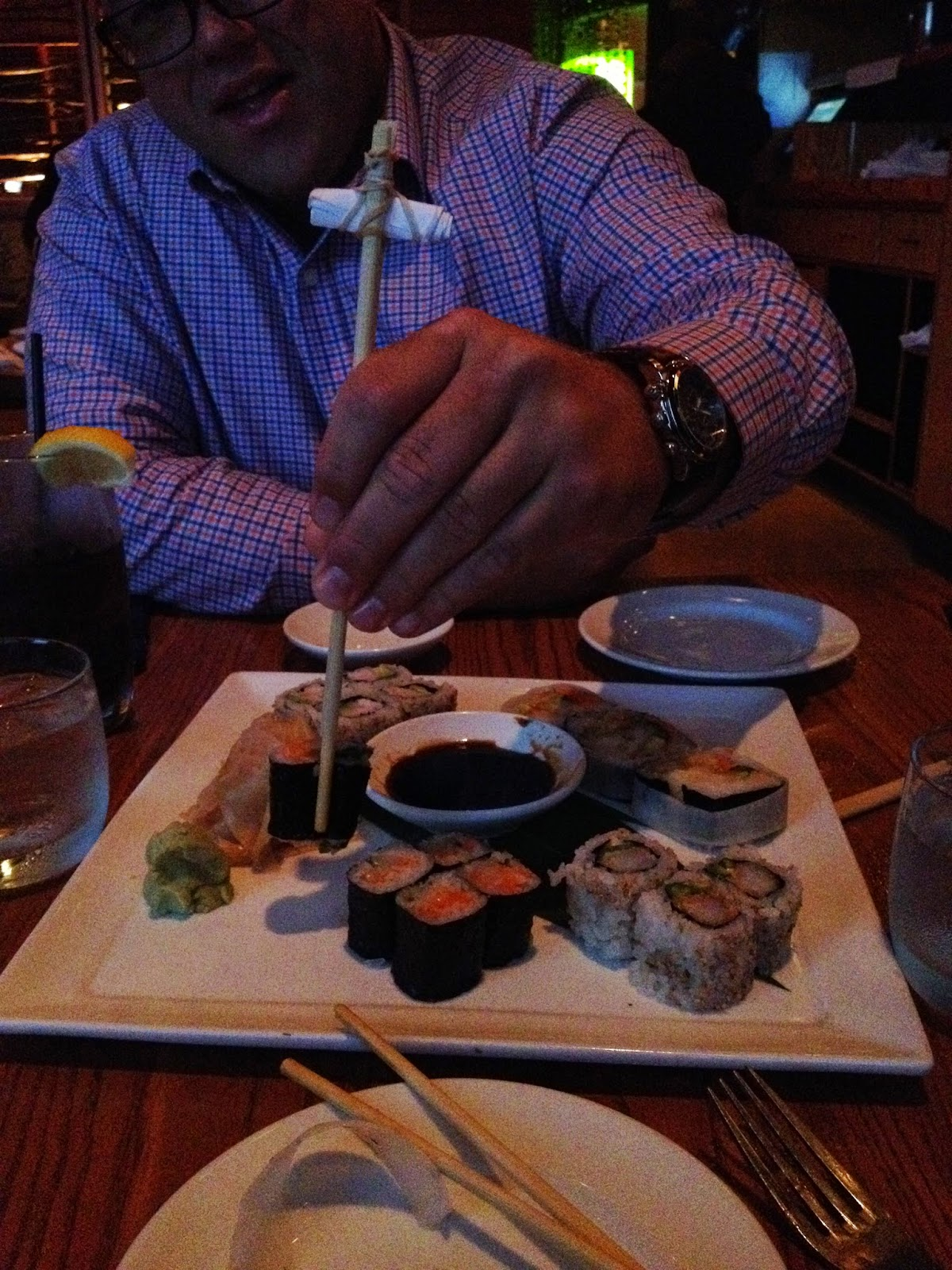 "The waiter made Mike ""Beginner"" Chopsticks"