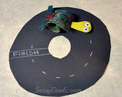 turbo the snail craft for kids on a racetrack
