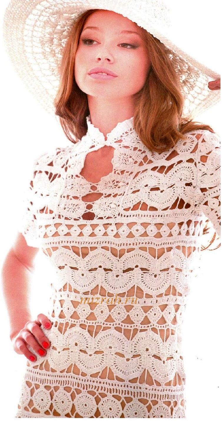 Ажурное белое платье. 39939