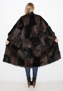 Vintage 1970's brown and black patchwork long fur coat.