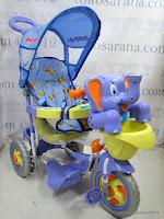 1 Sepeda Roda Tiga Royal RY8288CJ Gajah dengan New Canopy dan Jok Kain