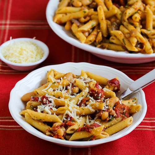 Meatless Penne Pasta with White Beans, Roasted Tomatoes, and Herbs