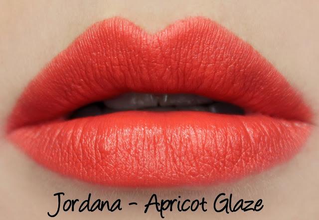 Jordana Apricot Glaze lipstick swatches & review