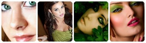 como maquillarse para vestir de verde collage