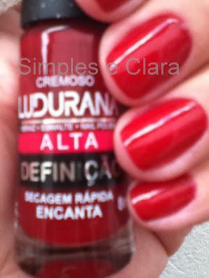 Esmalte Ludurana vermelho Encanta exclusivo do blog Simples e Clara