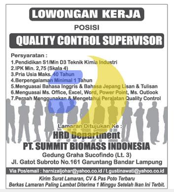 Lowongan Kerja PT. Summit Biomas Indonesia, Lowongan Kerja Lampung, Kamis 22 Januari 2015 Terbaru