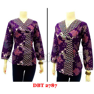 DB2787 Baju Bluse Batik Wanita Terbaru 2013