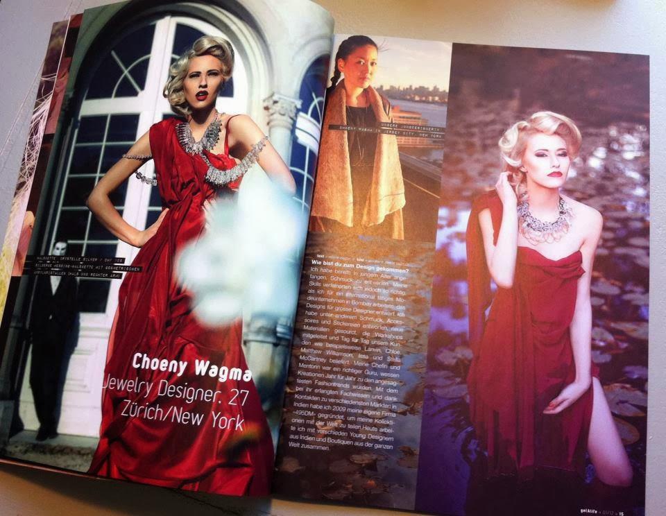 fashion editorial red dress magazine jewellery