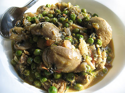 Mushroom Curry Simmered in a Fenugreek Cream Sauce with Green Peas