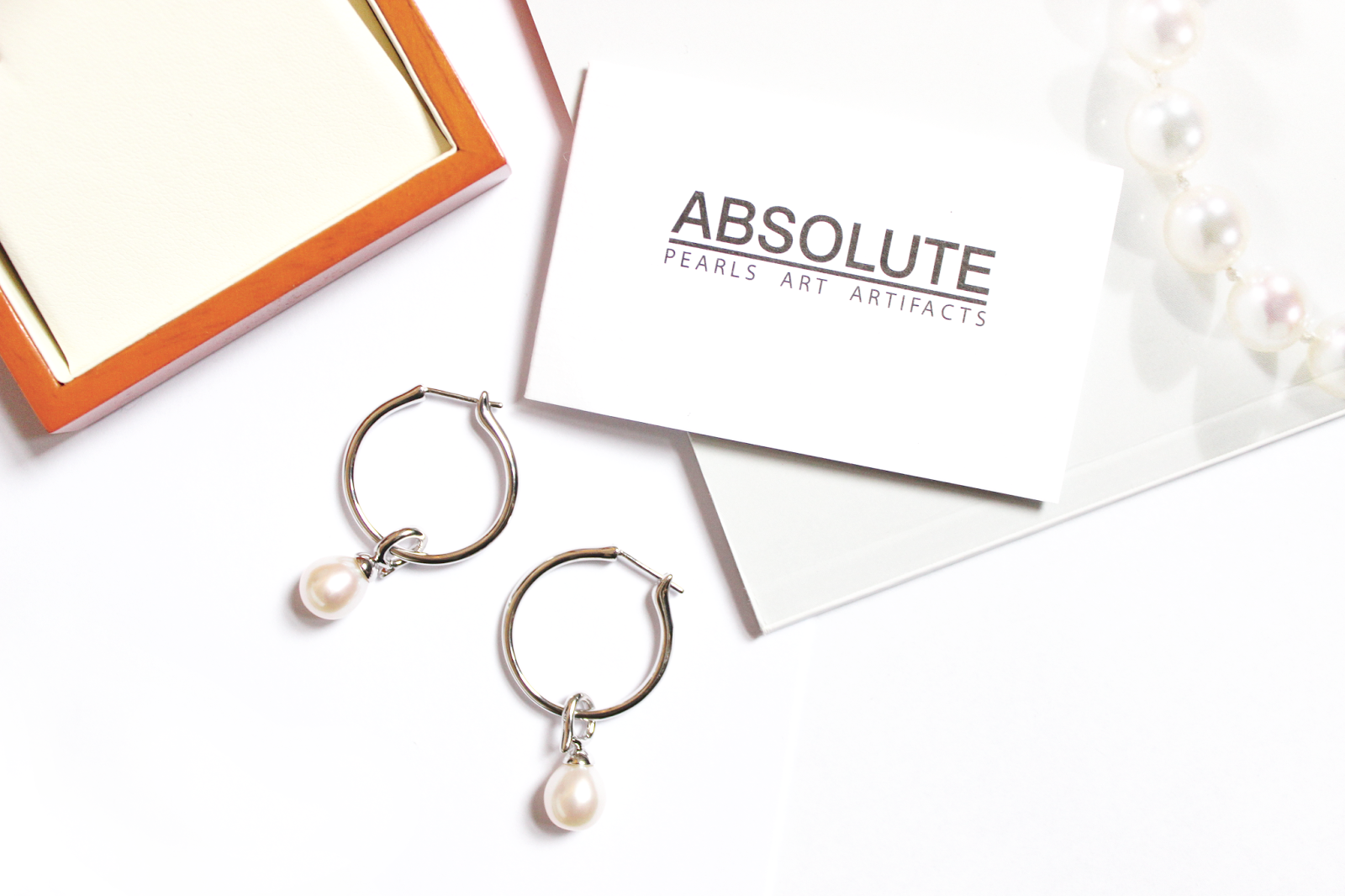 White Pearl Hoop Earrings from Absolute Pearls