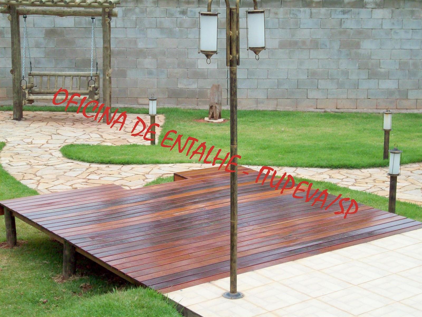 Download Banco rústico de balanço e deck suspenso em madeira tratada