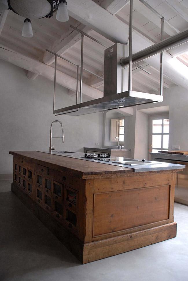cocina de campo vintage contemporanea -isla de cocina