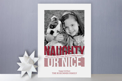 naughty or nice holiday photo card minted sarah brown fun unique cute kids children pets