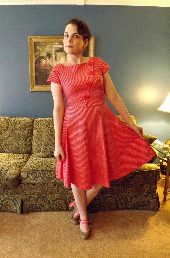 modcloth.com, Modcloth dress, Slant Rhyme Dress, Petrunia brand, button details, pink and silver striped, 1950s style, 50s inspired, A-line skirt, fit and flare, retro, vintage, cherry red, shimmer fabric, Suzanne Amlin, A Coin For the Well, Windsor Ontario fashion blog, style blogger, Rampage Mariska heel, beige and coral shoes, Strike a Prose Heel