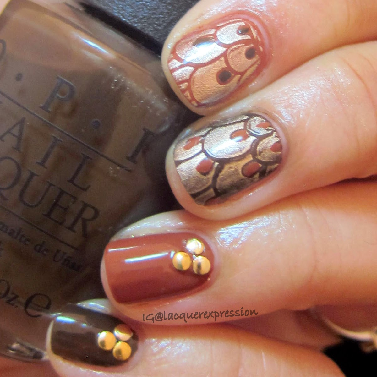 Thanksgiving Feathers nail art using O.P.I. Suzy loves cowboys nail polish