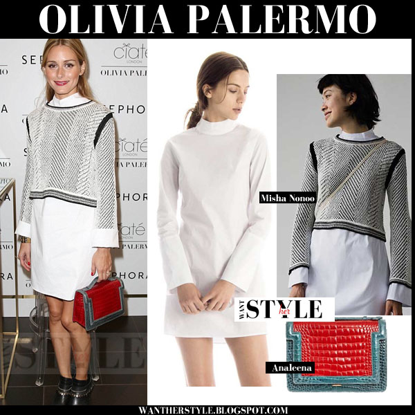 Olivia Palermo in white misha nonoo alexa mini dress with white black knit aden crop sweater and red bag what she wore event outfit 2015