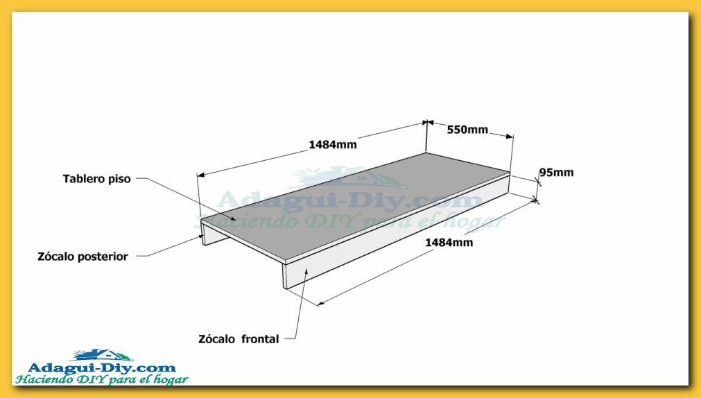 de melamina de 18 mm de espesor y el tablero es de postformado de