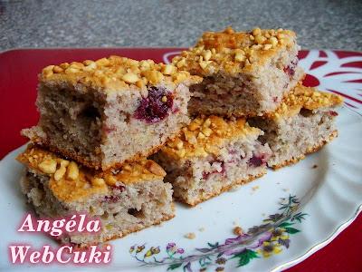 Lekváros lepény, egy ebéd utáni, könnyű kis sütemény, tetején darabolt mogyoróval illetve porcukorral megszórva.