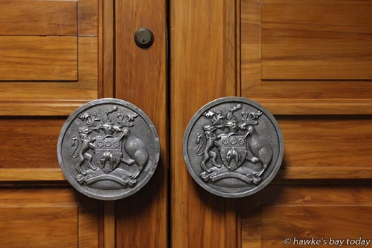 Crests on the doors of the council chambers at Napier City Council, Hastings St, Napier. photograph