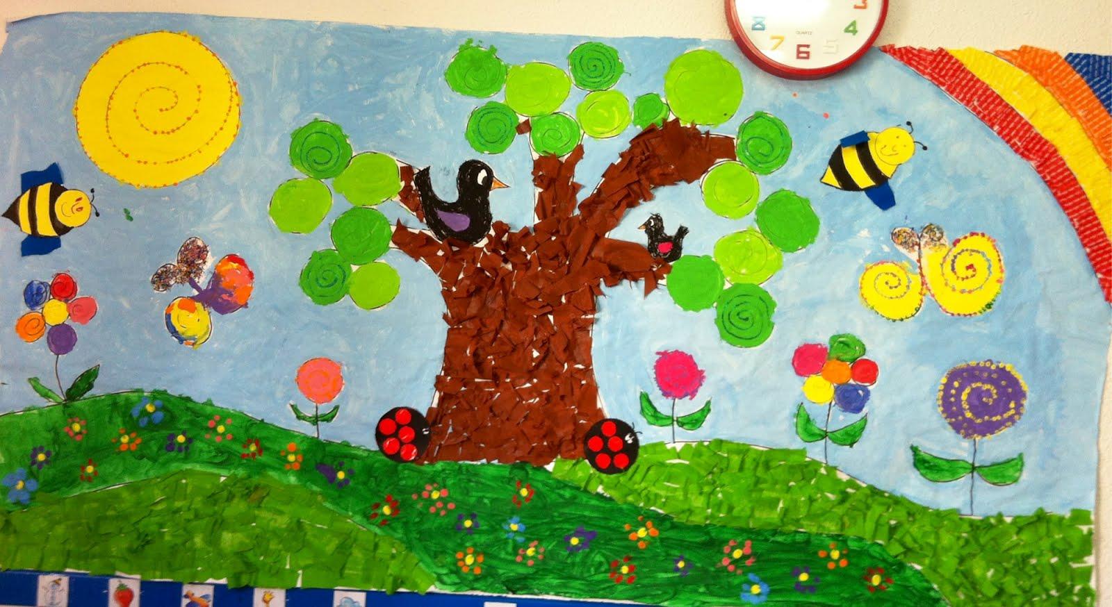 Aula de infantil mural primavera for Murales infantiles para preescolar