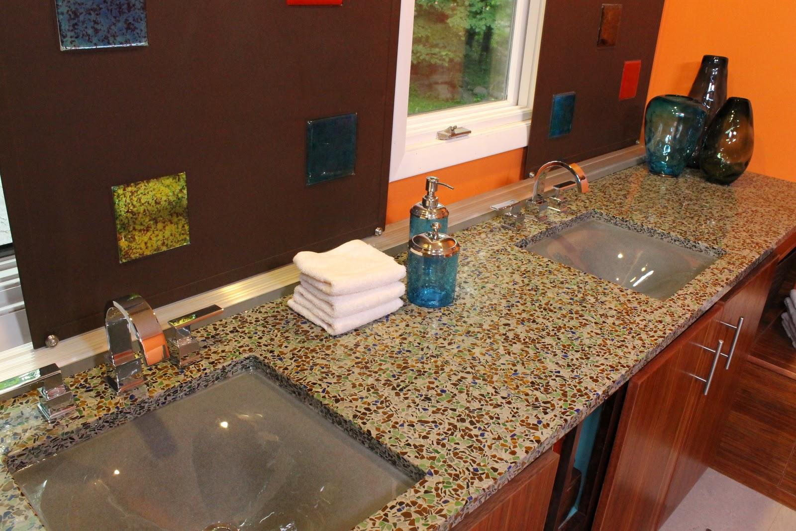 Diy Bathroom Floors Glass Recycleds Diy Bathroom Glass Recycled Surfaces