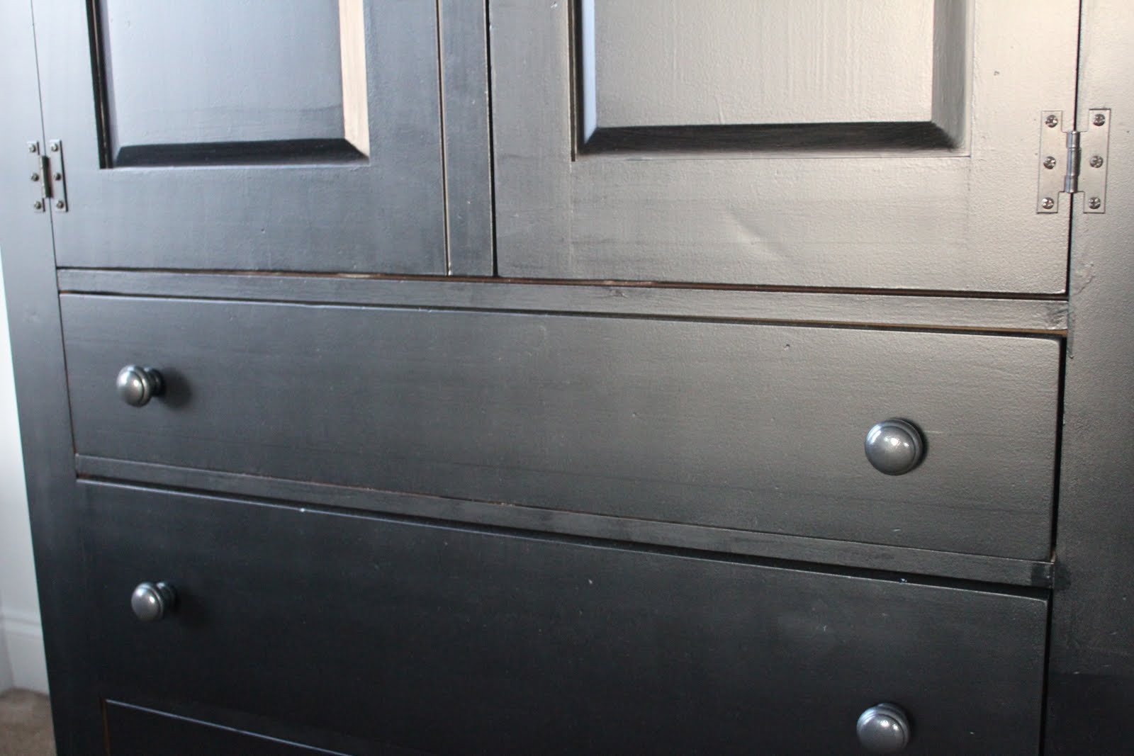 How The Spray Painted Wood Knobs Look Back On The Painted Furniture