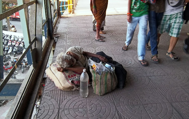 destitute at railway bridge